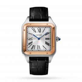 Santos-Dumont watch XL model, rose gold and steel, leather bracelet