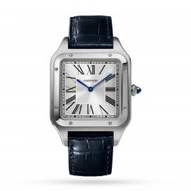 Santos-Dumont watch XL model, steel, leather strap