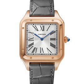 Santos de Cartier Extra-Large 18K Rose Gold & Grey Alligator Strap Watch