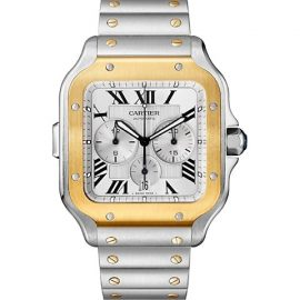 Santos de Cartier Extra-Large 18K Yellow Gold & Stainless Steel Two Strap Chronograph Watch
