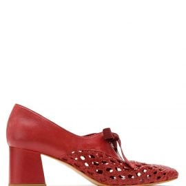 Sarah Chofakian Romance woven lace-up pumps - Red