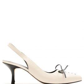 Sarah Chofakian bow detail slingback pumps - White