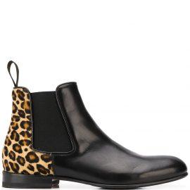 Scarosso Lexi leopard print chelsea boots - Black