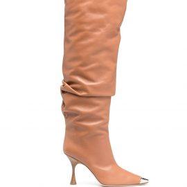 Sergio Rossi metallic-embellishments knee-high boots - Brown