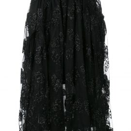 Simone Rocha jacquard tulle midi skirt - Black