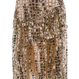 Simone Rocha ruffled sequin skirt - GOLD