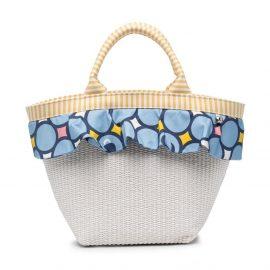 Simonetta ruffle trim woven beach bag - White