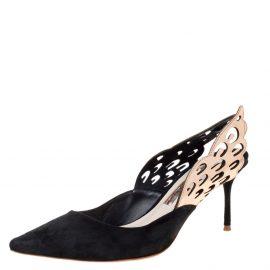 Sophia Webster Black Suede Angelo Slingback Pointed Toe Sandals Size 36