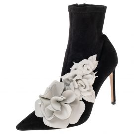 Sophia Webster Black Suede Jumbo Lilico Pointed Toe Ankle Boots Size 40.5