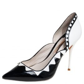 Sophia Webster Black/White Patent Leather And Leather D'orsay Pumps Size 40