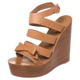 Sophia Webster Brown Leather Samara Strappy Wedge Platform Ankle Strap Sandals Size 38.5