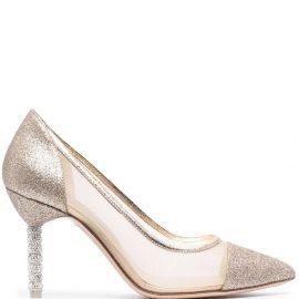 Sophia Webster Jasmine glittered pumps - Gold