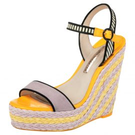 Sophia Webster Multicolor Suede and Patent Leather Lucita Rafia Wedges Size 39.5
