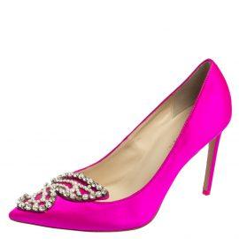 Sophia Webster Pink Satin Crystal Embellished Bibi Pumps Size 41