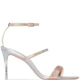 Sophia Webster Rosalind 85mm glitter-effect sandals - SILVER
