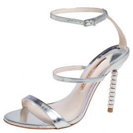 Sophia Webster Silver Leather Rosalind Crystal Heel Ankle Strap Sandals Size 38