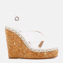 Sophia Webster Women's Rita Croc Wedged Sandals - White - UK 4