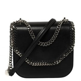 Stella McCartney Black Faux Leather Mini Falabella Box Shoulder Bag