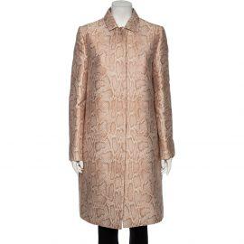 Stella McCartney Blush Pink Snakeskin Jacquard Patterned Kevin Coat M