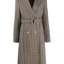 Stella McCartney check print long belted coat - Neutrals