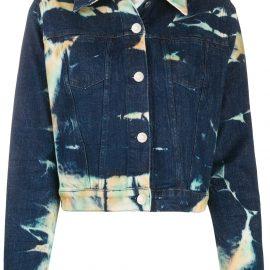 Stella McCartney cropped tie-dye denim jacket - Blue