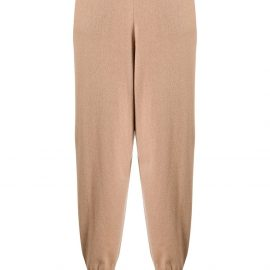 Stella McCartney cropped wool tapered trousers - Brown