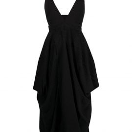 Stella McCartney plunge-neck draped midi-dress - Black