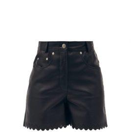 Stella Mccartney - Maddox Scalloped-edge Faux-leather Shorts - Womens - Black
