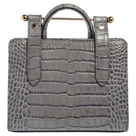 Strathberry Grey Croc Embossed Leather Nano Tote Shoulder Bag