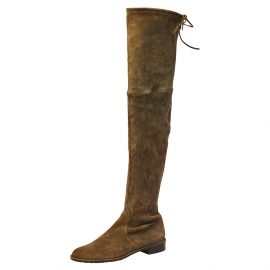 Stuart Weitzman Green Suede Highland Over The Knee Boots Size 40