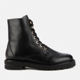 Stuart Weitzman Women's Mila Lift Leather Lace Up Boots - Black - UK 8