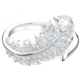 Swarovski Crystal Feather White Rhodium Plated Ring