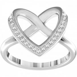 Swarovski Rhodium White Crystal Cupdion Ring Size 52 D