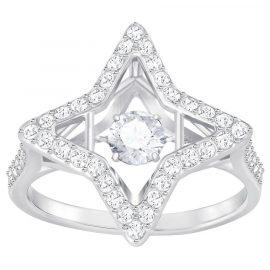 Swarovski Rhodium White Crystal Sparking Dance Star Ring Size 55