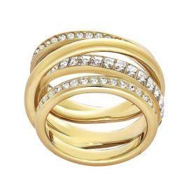 Swarovski Yellow Gold White Crystal Dynamic Ring Size 50 D