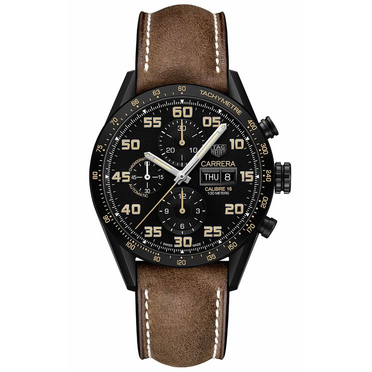 TAG Heuer Carrera Men's Brown Leather Strap Watch