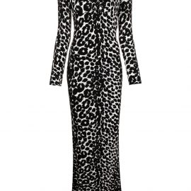 TOM FORD leopard-print V-neck dress - Black