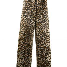 TOM FORD leopard print wide-leg trousers - Neutrals