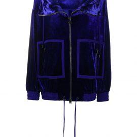 TOM FORD velvet zip-up hoodie - Blue