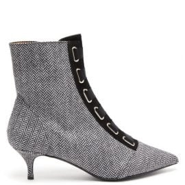 Tabitha Simmons - Quin Herringbone Ankle Boots - Womens - Black White