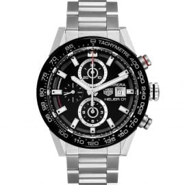 Tag Heuer Black Stainless Steel Carrera Chronograph Automatic CAR201Z Men's Wristwatch 43 MM