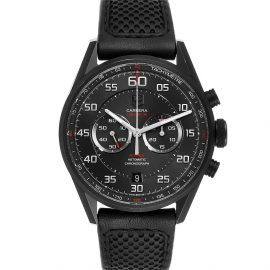 Tag Heuer Black Titanium Carrera Calibre Flyback CAR2B80 Men's Wristwatch 36 MM