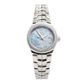 Tag Heuer Blue MOP Diamonds Stainless Steel Link WBC1319 Women's Wristwatch 32 mm