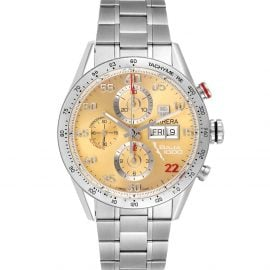 Tag Heuer Champagne Stainless Steel Carrera Day-Date CV2A1H Men's Wristwatch 43 MM