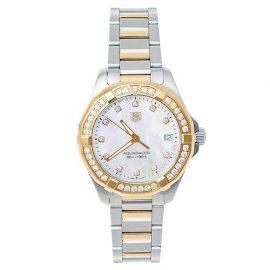 Tag Heuer MOP 18K Yellow Gold & Stainless Steel Diamonds Aquaracer WAY1353.BD0917 Women's Wristwatch 32 mm, White