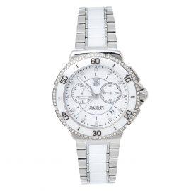 Tag Heuer White Stainless Steel & Ceramic Diamond Formula 1 CAH1213 Women's Wristwatch 41 mm, White