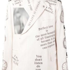 Takahiromiyashita The Soloist slogan-print blazer - White