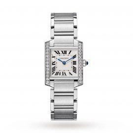 Tank Française watch, Medium model, steel, diamonds