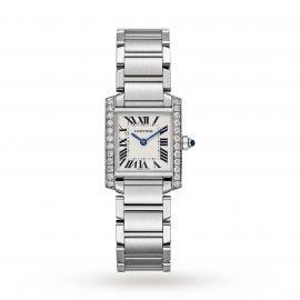 Tank Française watch, Small model, steel, diamonds