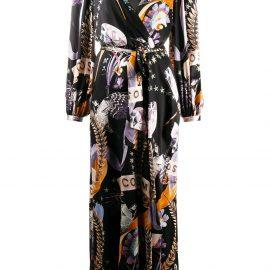Temperley London Cosmos-print wrap dress - Black